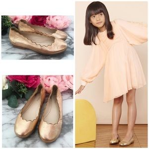 Chloé Girls Rose Gold Scalloped Ballet Flats Shoes